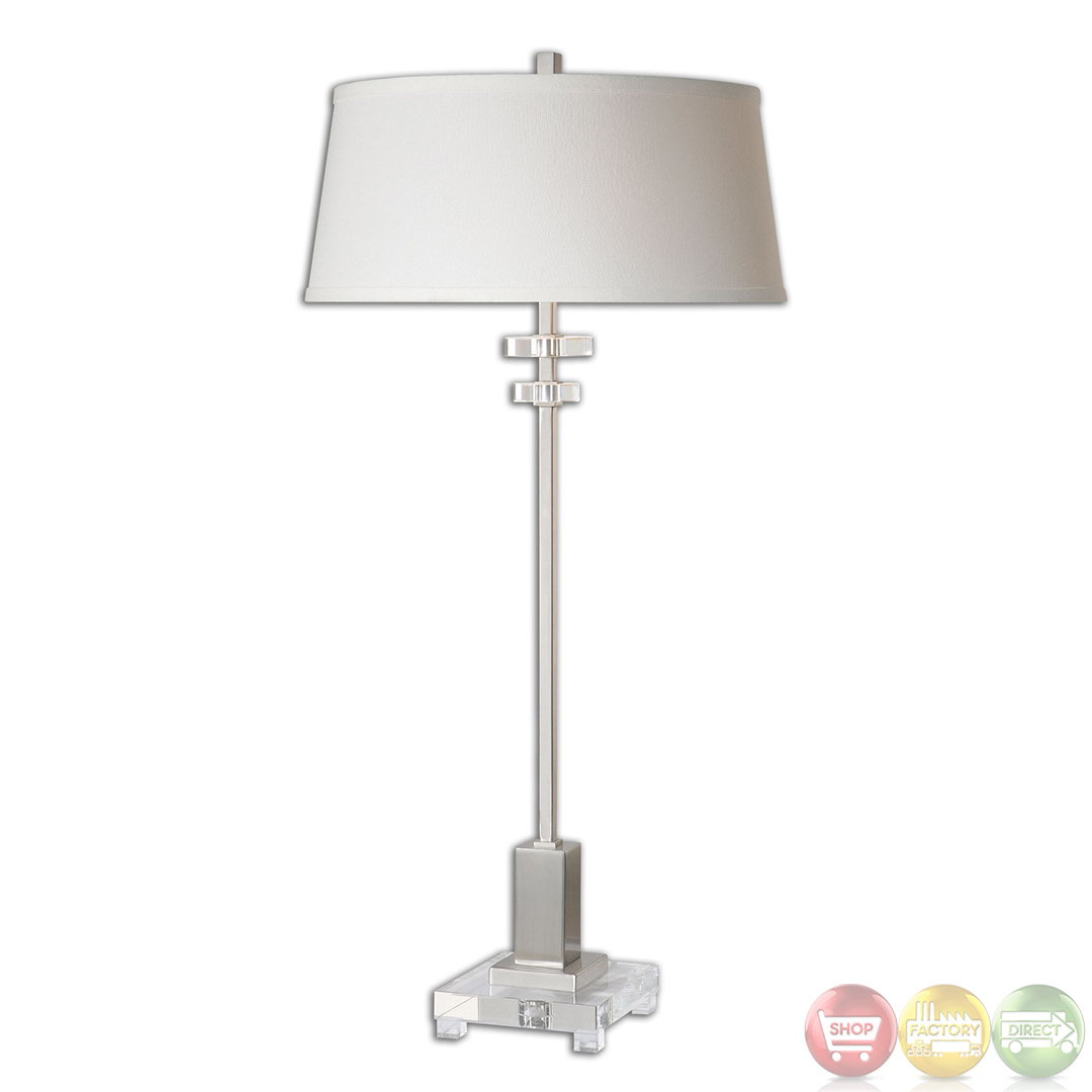 Eutropius Brushed Nickel Amp Crystal Accented Buffet Lamp 26165