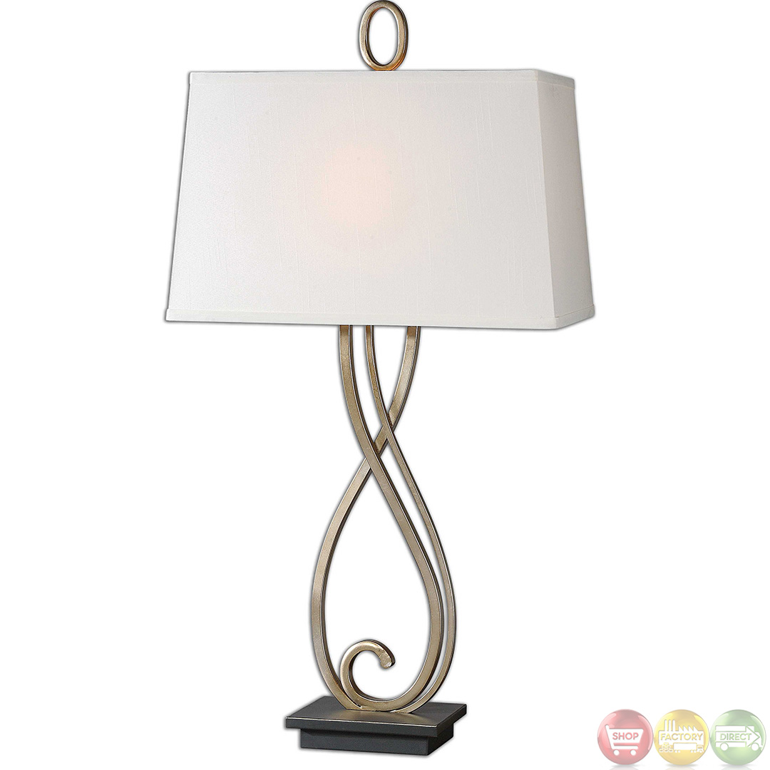 Ferndale Silver Champagne Scroll Metal Table Lamp 26341