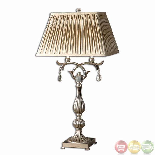 Silver Table Lamps : Floriane Antiqued Silver Leaf & Crystal Accents Table Lamp 26924