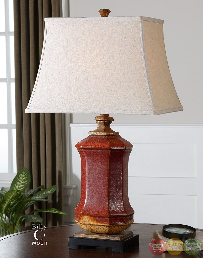 Fogliano Distressed Rustic Red Ceramic Table Lamp 26497