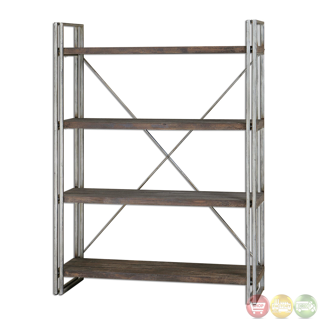 Greeley industrial design weathered silver metal etagere 24396 - Etagere metal design ...