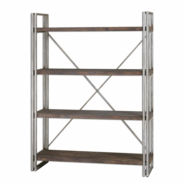 Greeley Industrial Design Weathered Silver Metal Etagere 24396