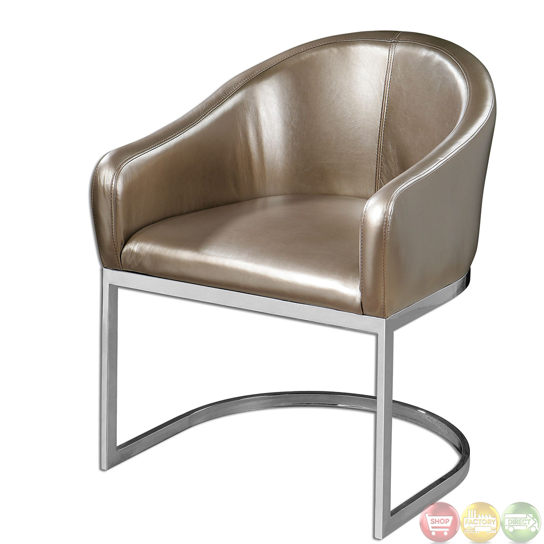 Marah Metallic Champagne Faux Leather Accent Chair