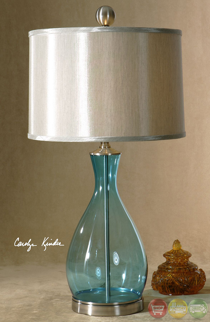 meena clear blue mouth blown glass table lamp 27862 1. Black Bedroom Furniture Sets. Home Design Ideas
