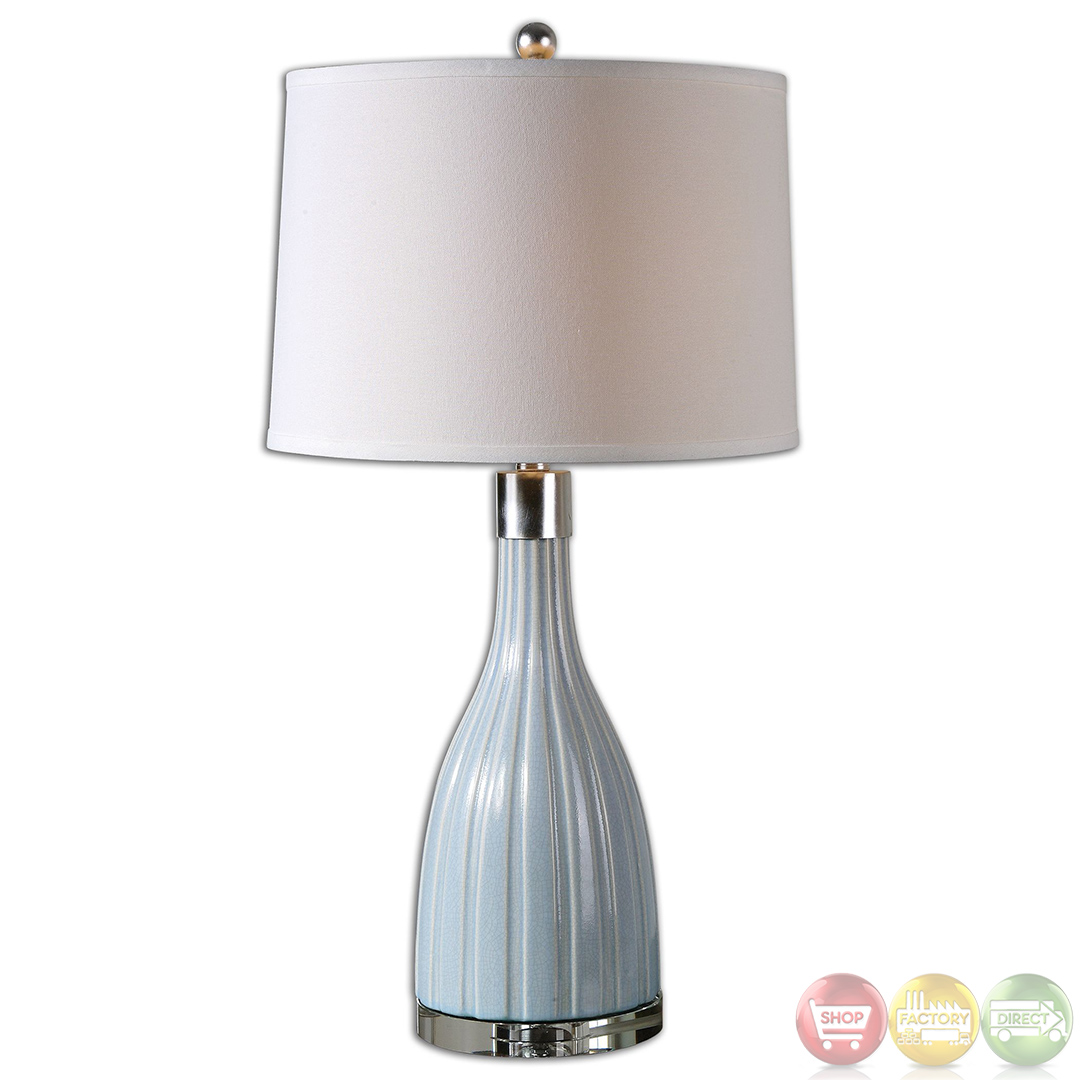 monona crackled light blue ceramic table lamp 26563. Black Bedroom Furniture Sets. Home Design Ideas