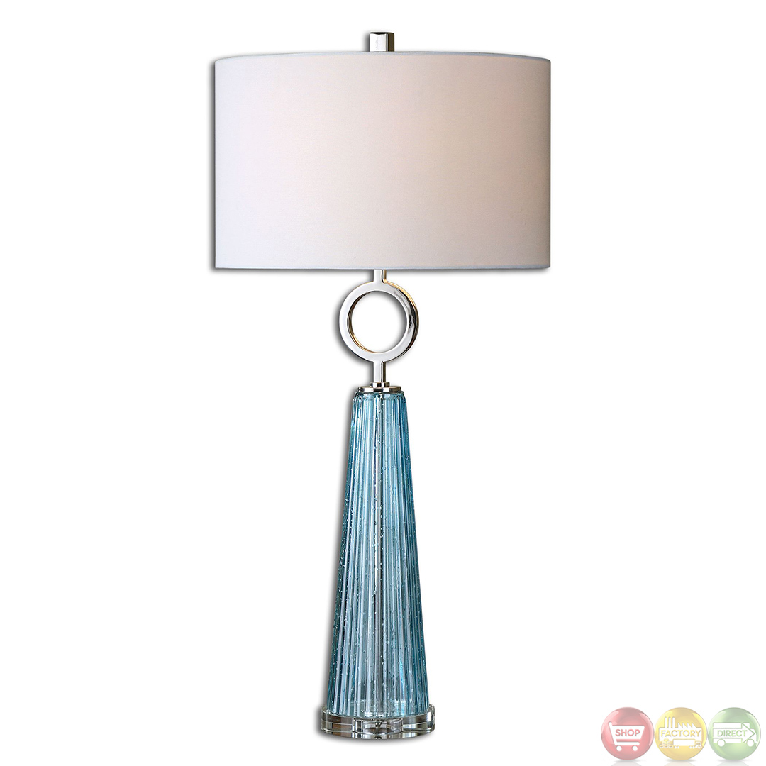 navier seeded blue ribbed glass table lamp 27698 1. Black Bedroom Furniture Sets. Home Design Ideas