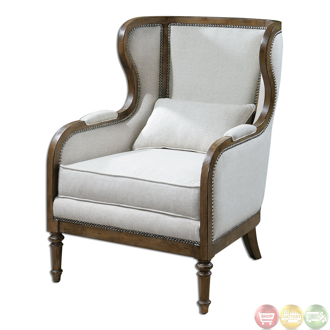 Neylan Neutral Linen Exposed Wood Frame Wing Chair 23159