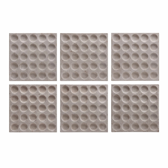 """Set of 6, Rogero Squares With Concave Circles In  Stone Finish Wall Art, 20""""x20"""""""
