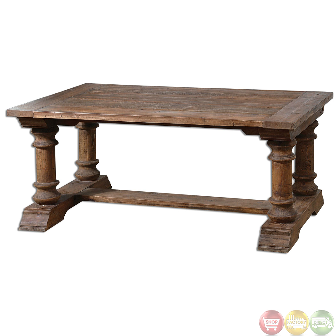 Saturia rustic reclaimed wood coffee table 24342 for Coffee table wood