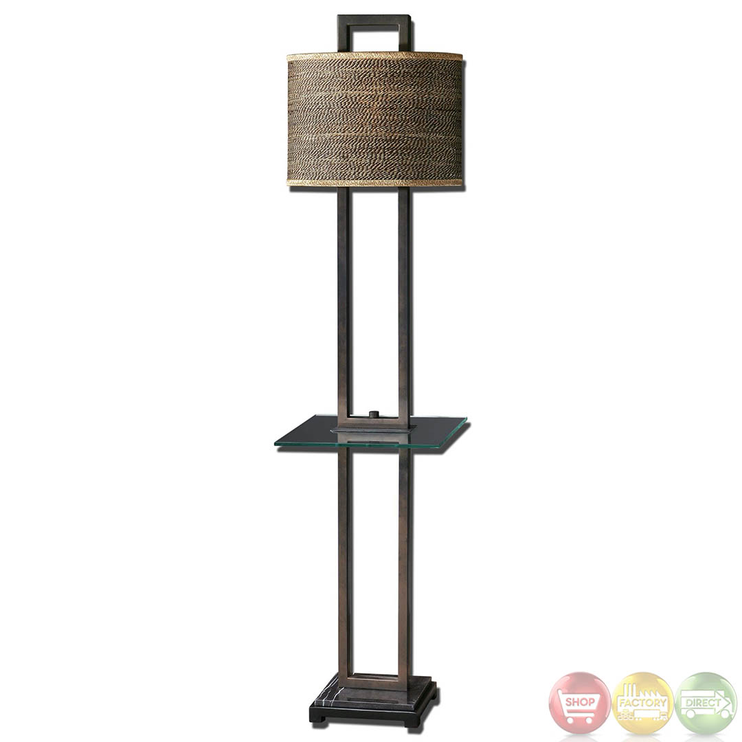 Stabina rustic bronze metal oval drum shade end table for Floor lamp with table