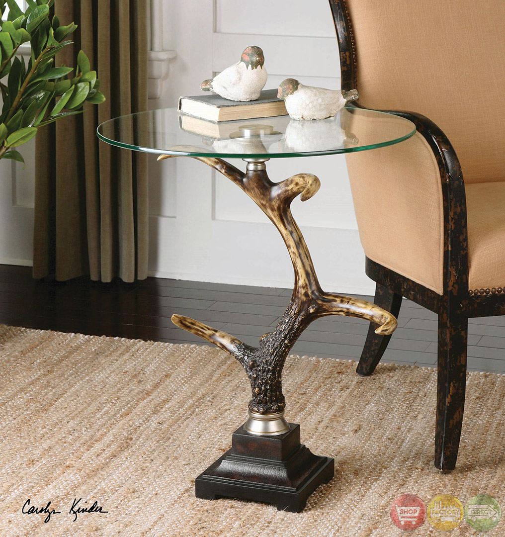 Stag Horn Bronzed Antler Glass Top Accent Table 24430