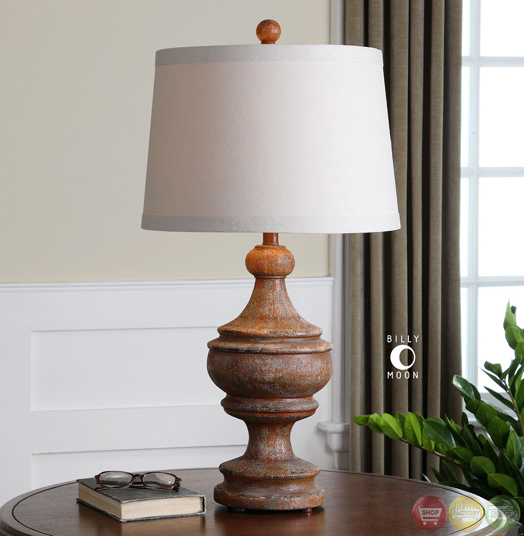 via lata burnt orange solid wood base table lamp 27742. Black Bedroom Furniture Sets. Home Design Ideas