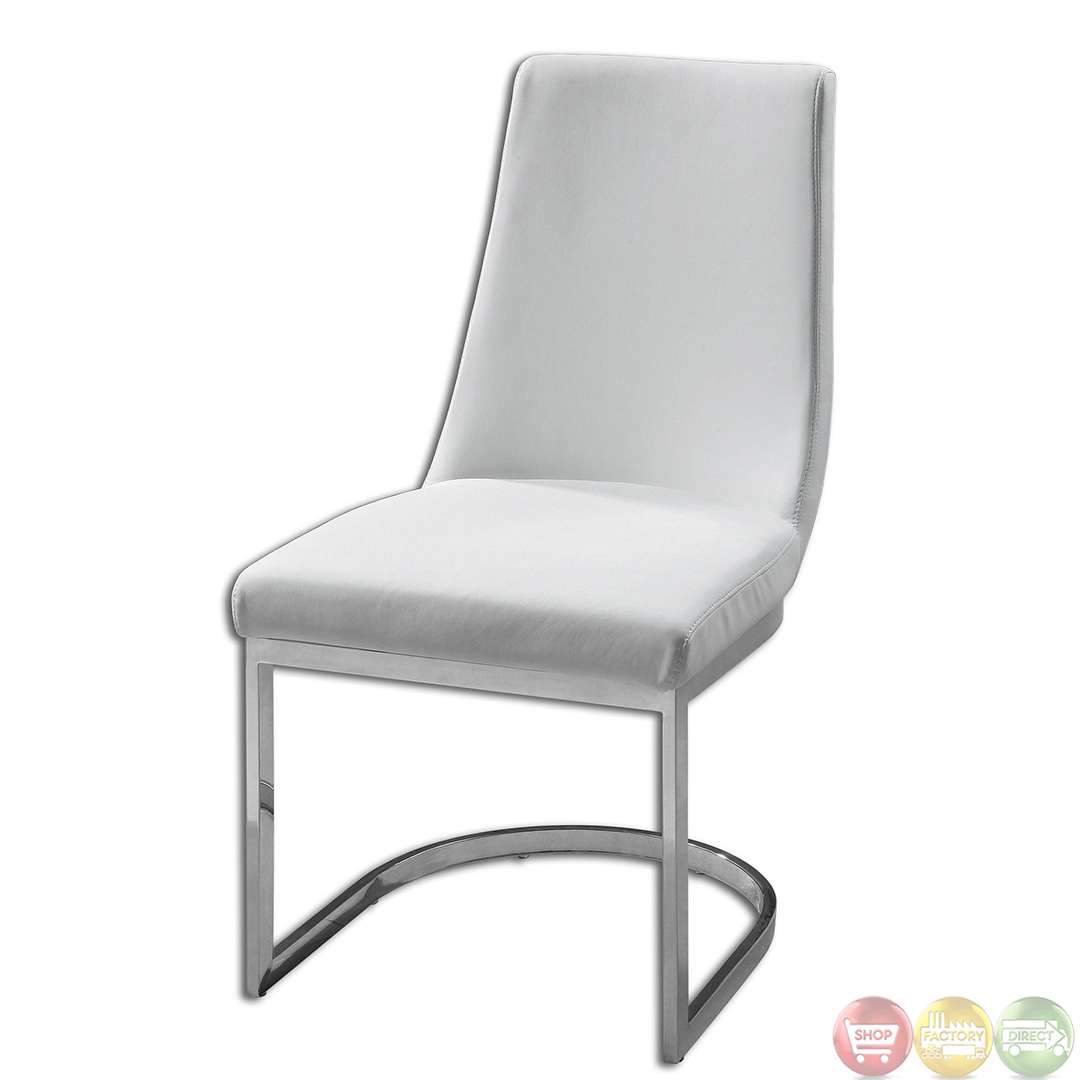 Xantina Chrome Base White Upholstery Accent Chair 23141