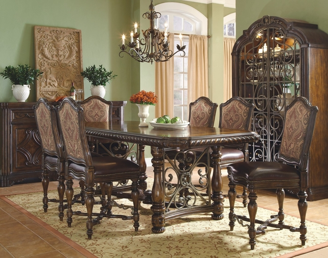 """Valencia Antique Style 76"""" - 116"""" Counter Height Dining Set"""