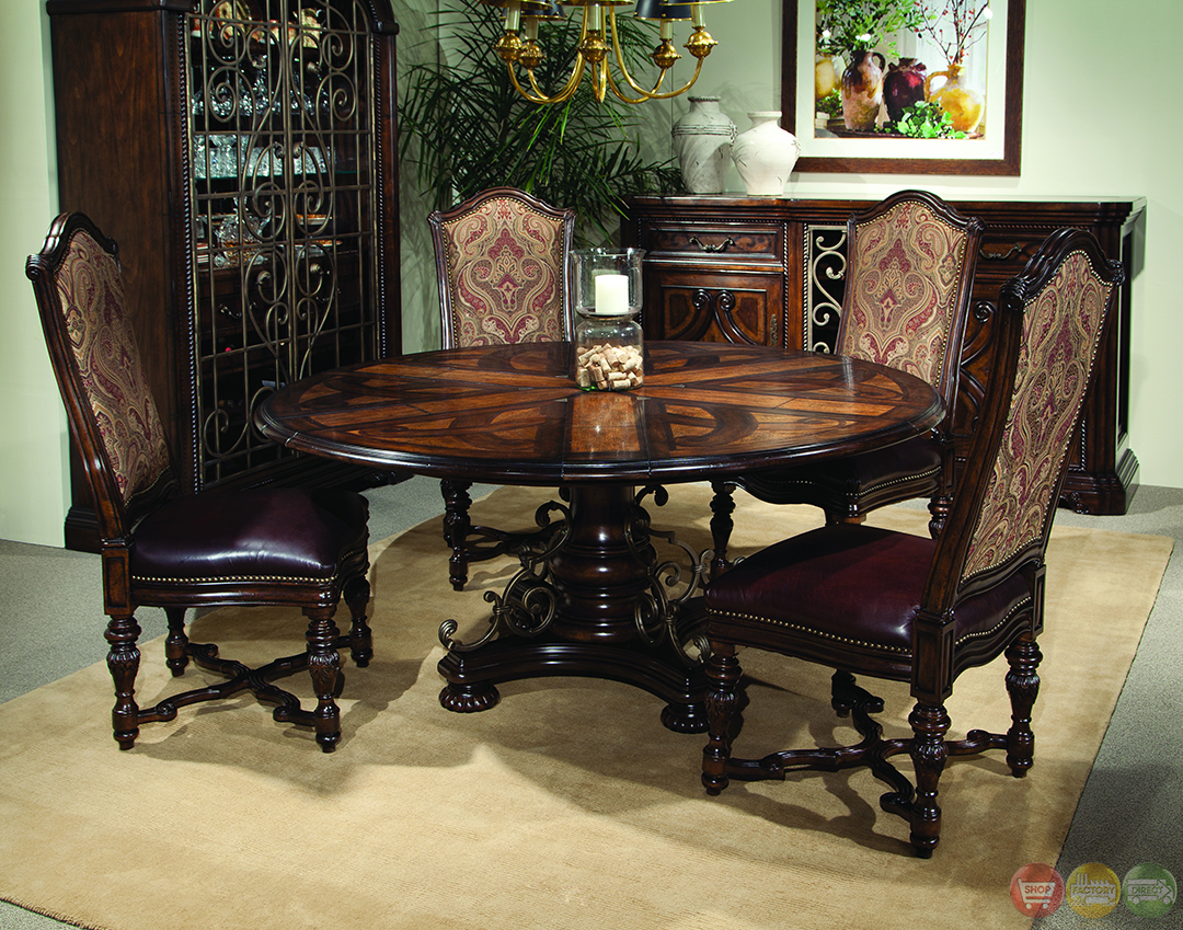 valencia antique style round table dining room set st nicholas ii antique cherry round pedestal dining room