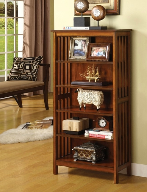 Valencia I Mission Antique Oak Media Shelf