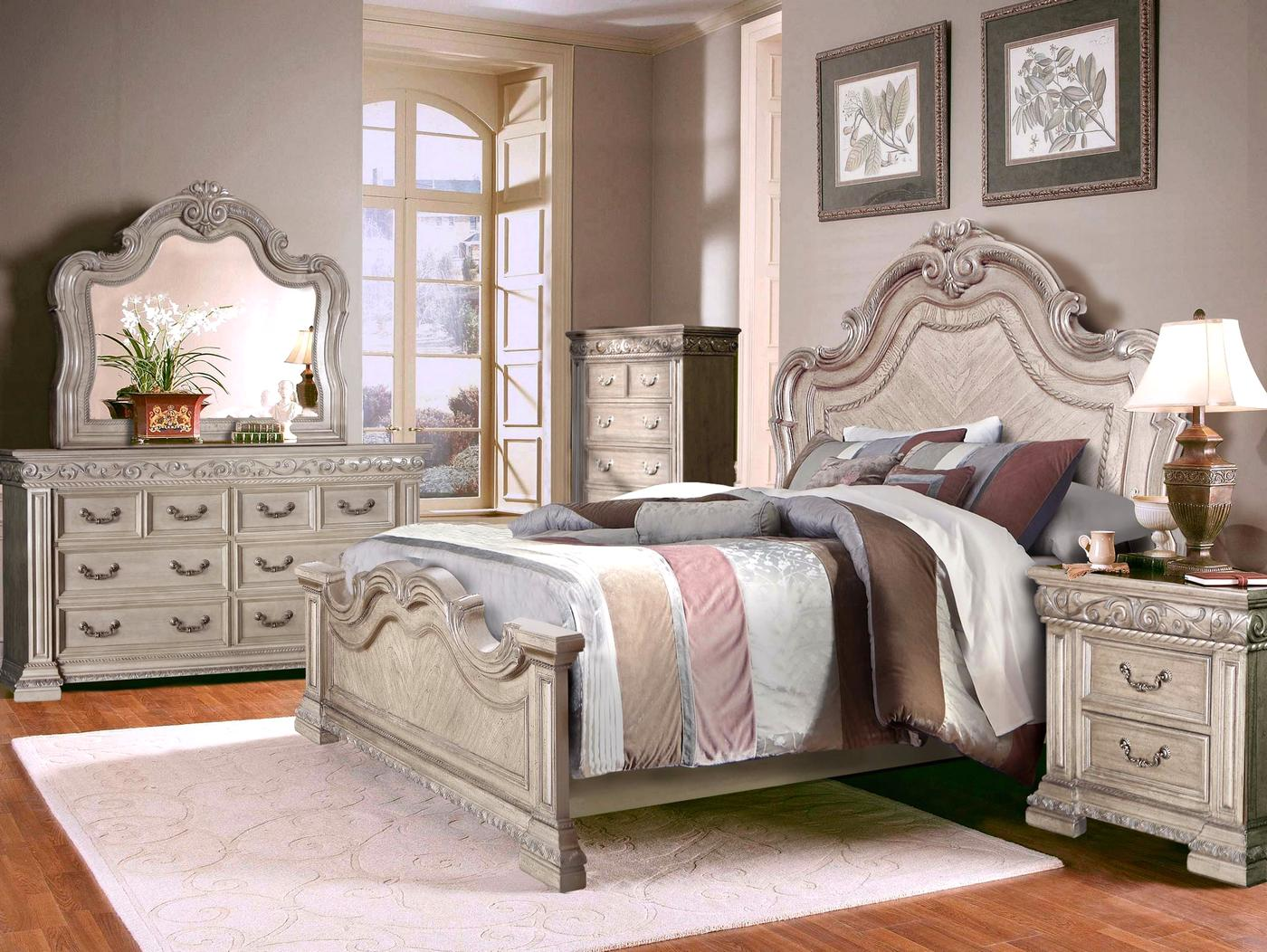 valentine antique style 4 pc queen bedroom set in antique white finish