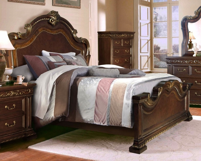 Valentine Antique Style King Bedroom In Dark Brown & Gold Finish