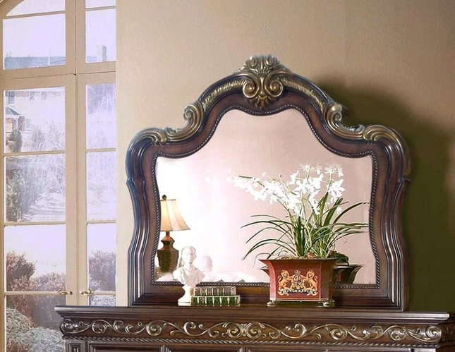 Valentine Traditional Beveled Mirror In Dark Brown And Gold Finish