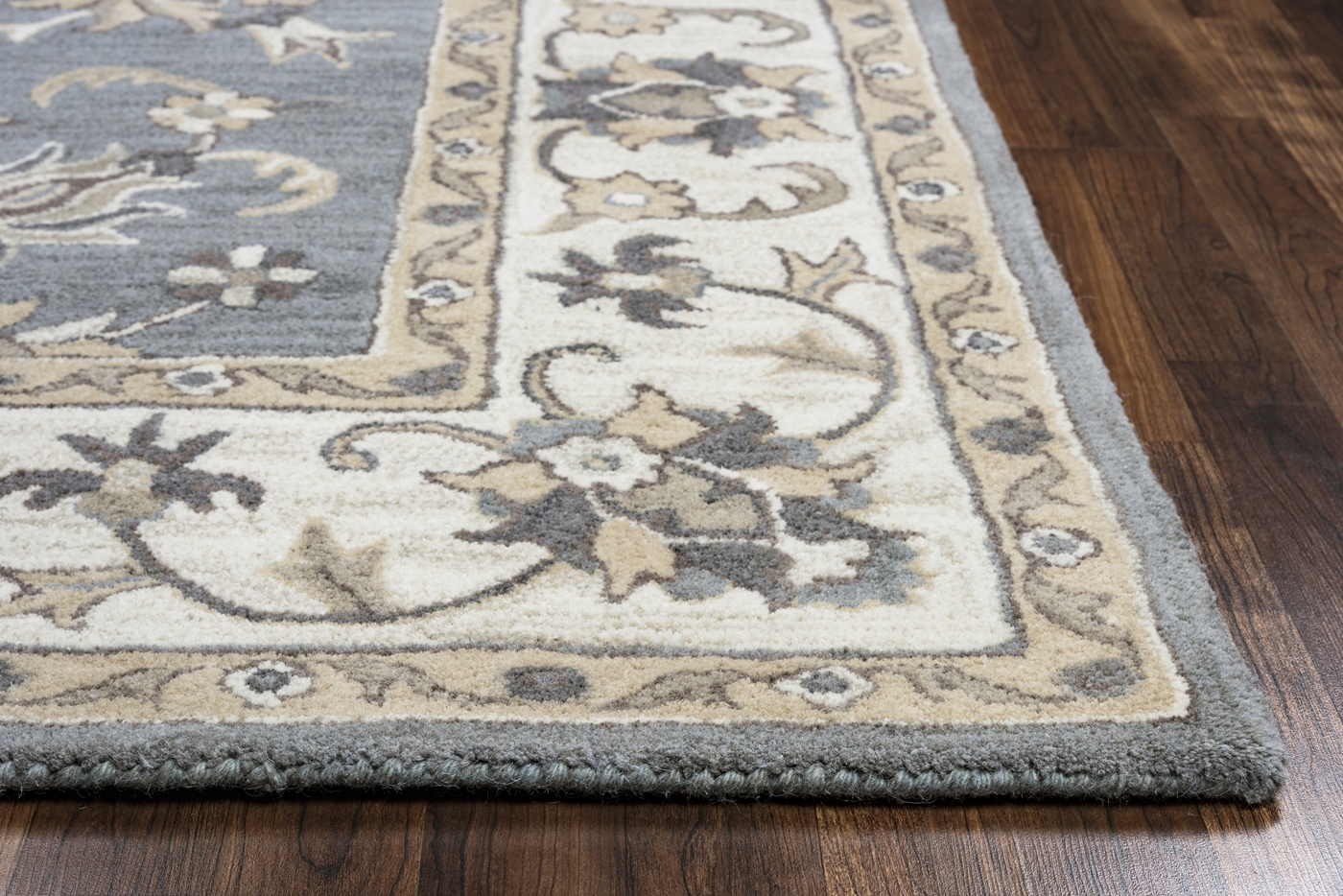 Valintino Floral Vine Border Wool Area Rug In Gray Tan