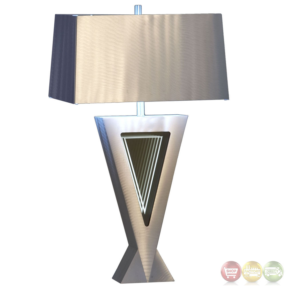 Vectors Infinity Mirror Silver Aluminum Modern Table Lamp