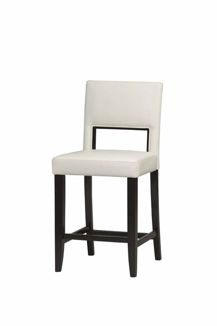 Vega Espresso Finish White Vinyl Counter Bar Stool