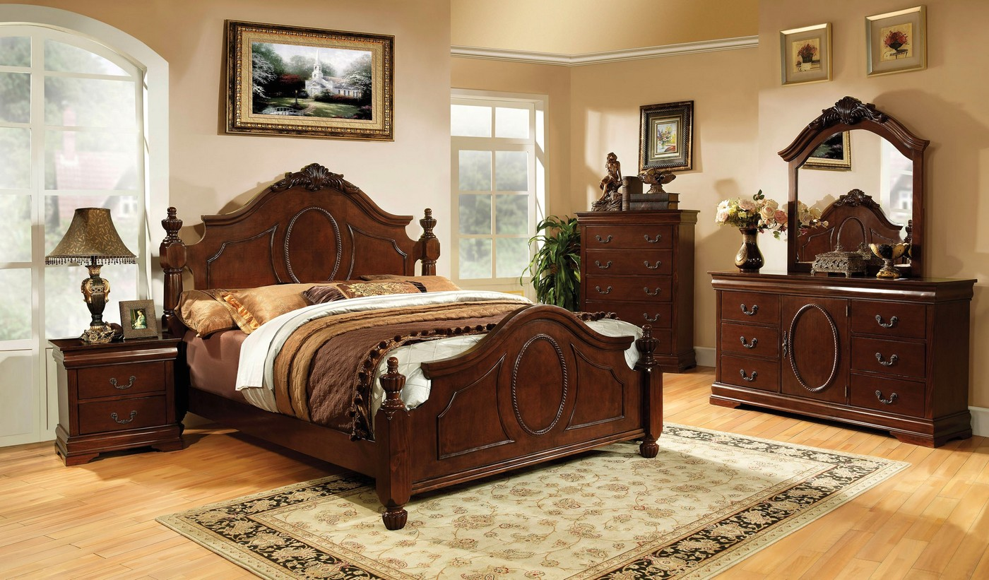 Velda Ii Luxurious English Warm Cherry Bedroom Set With