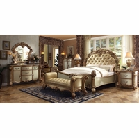 Vendome Traditional 4pc Button Tufted Queen Bedroom Set in Gold Patina