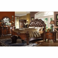 Vendome 4pc Upholstered Brown Victorian King Bedroom Set in Cherry