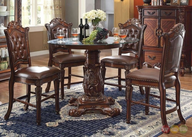Vendome 5pc formal 48 quot round counter height dining table set in cherry