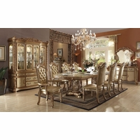 "Vendome 5pc Formal Double Pedestal 84""-120"" Dining Table Set In Gold Patina"