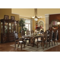 "Vendome 5pc Formal Double Pedestal 85""-121"" Dining Table Set In Cherry"