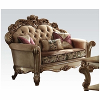 Vendome Crystal Tufted Bone Fabric Loveseat In Victorian Gold Patina