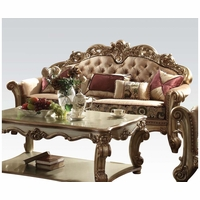 Vendome Crystal Tufted Bone Fabric Sofa In Victorian Gold Patina