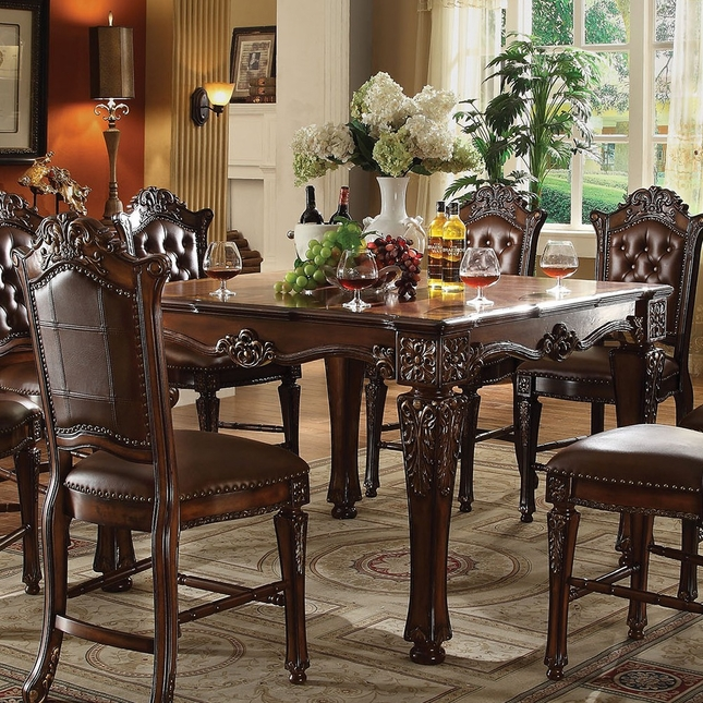 Vendome Formal 54 Square Counter Height Dining Table In Brown Cherry