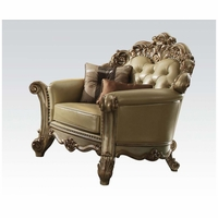 Vendome Formal Baroque Gold Patina Chair With Crystal Tufted Faux Leather