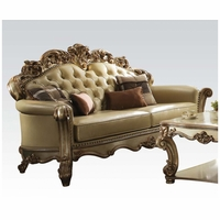 Vendome Formal Baroque Gold Patina Sofa With Crystal Tufted Faux Leather
