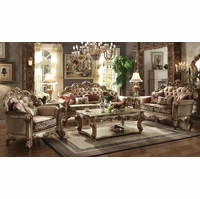 Vendome Formal Crystal-Tufted Fabric Sofa & Loveseat Set In Gold Patina