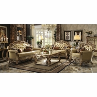 Vendome Formal Crystal-Tufted Sofa & Loveseat Set In Gold Patina Leather