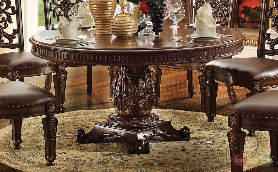 Vendome Formal Ornate 60 Quot Wood Top Round Dining Table In