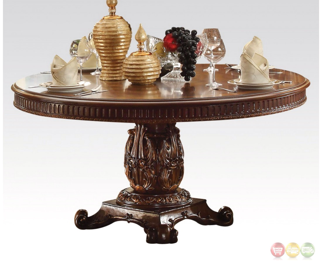 "Vendome Formal Ornate 72"" Wood Top Round Dining Table In ..."