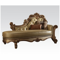 Vendome Formal Ornate Faux Leather Button-Tufted Chaise In Gold Patina