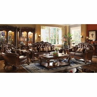 Vendome Formal Sofa & Loveseat Set In Ornate Dark Brown Cherry Faux Leather