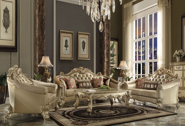 Vendome II Formal Crystal Sofa & Loveseat Set In Gold Patina Faux Lather