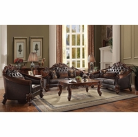 Vendome II Formal Tufted Sofa & Loveseat Set In Brown Cherry Faux Lather