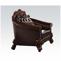 Vendome II Formal Two-Tone Dark Brown Chair With Tufted Faux Leather