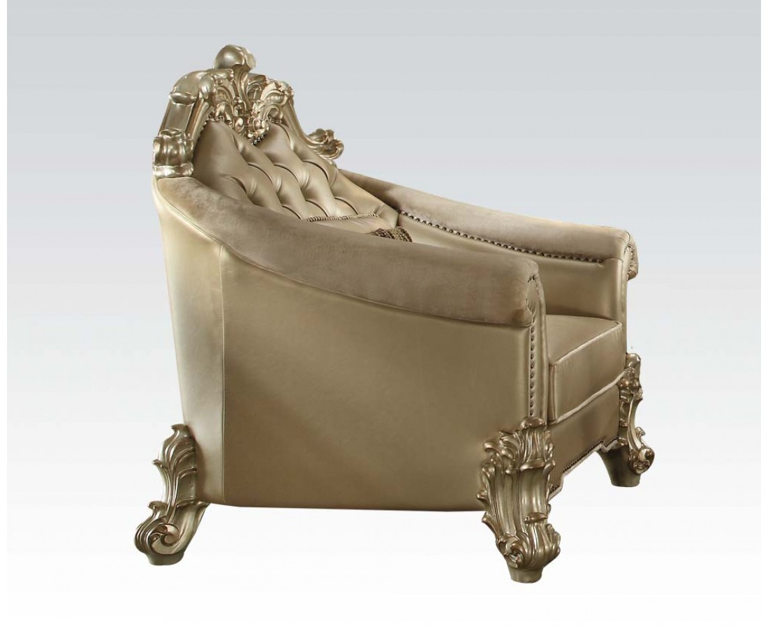 Vendome Ii Formal Victorian Crystal Tufted Faux Leather Chair In Gold