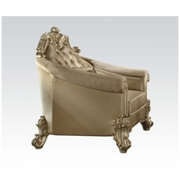 Vendome II Formal Victorian Crystal Tufted Faux Leather Chair In Gold Patina