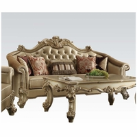 Vendome II Formal Victorian Crystal Tufted Faux Leather Sofa In Gold Patina