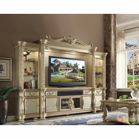 "Vendome II Ornate 80"" Entertainment Wall Unit In Traditional Gold Patina"